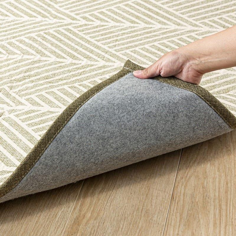 ラグ ブランシュCT 185×185ブルー:裏面は床に優しい不織布貼り