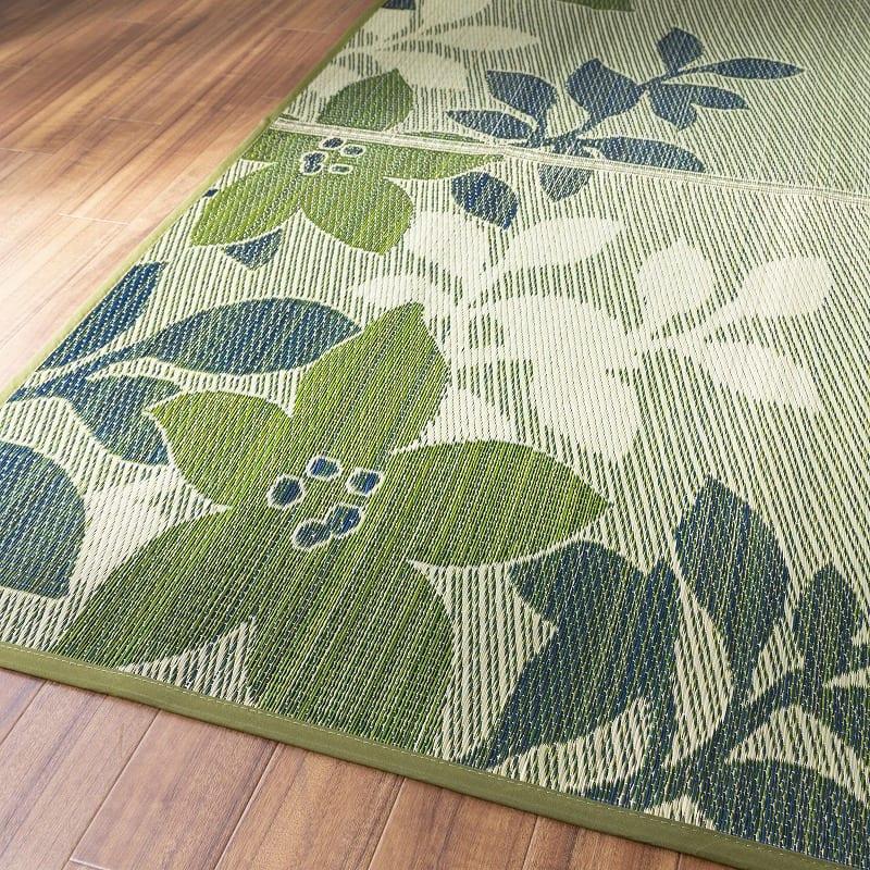 い草ラグ NSフォリオ 176X176 BL:リーフ柄がお部屋を彩る