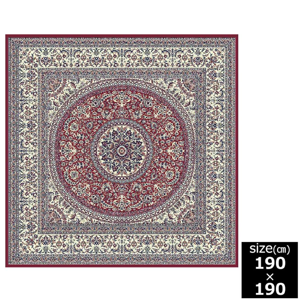 国産モケット織ラグ ラルゴ 185×185cm レッド:ウィルトン織機を使い柄を織り出しています。