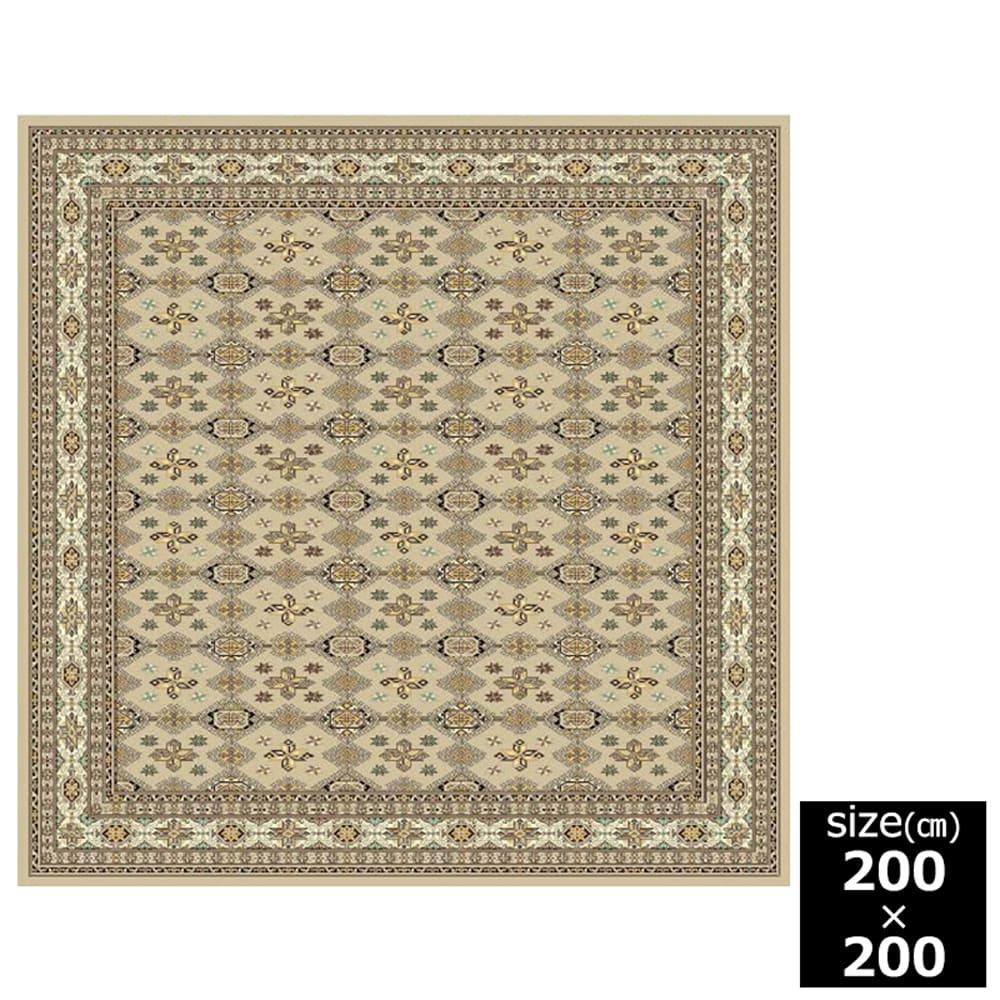 国産モケット織ラグ ムガル 200×200cm ベージュ:ウィルトン織機を使い柄を織り出しています。