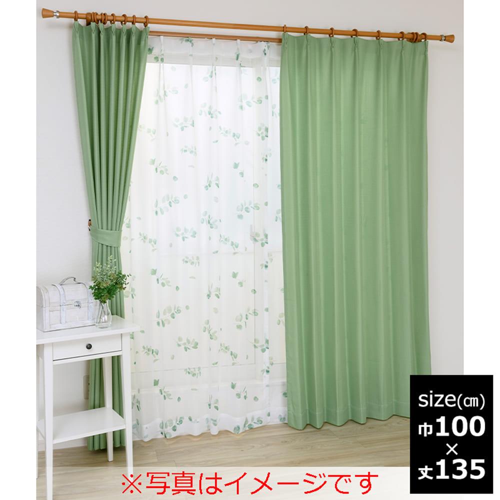NCユーカリ 100×135 グリーン 【4枚組】:ボイルレース付きカーテン NCユーカリ 100X135 グリーン 4枚組