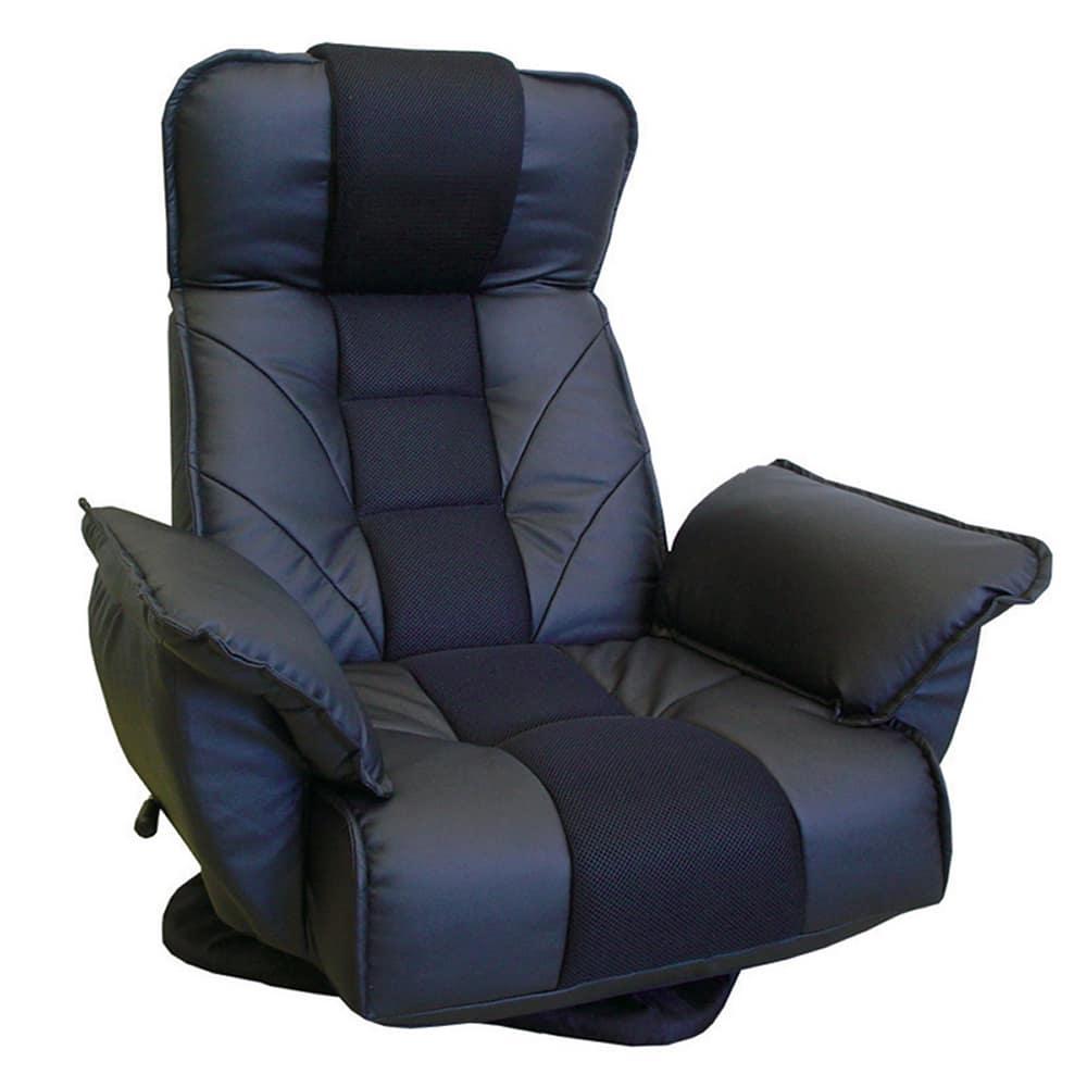 TVが見易いレバー式回転座椅子 FRLアクロスBK:14段階のリクライニング機能で体にフィット