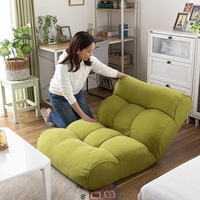 1人掛けソファ ピグレット セレクト(グリーン):背面の角度調節が可能