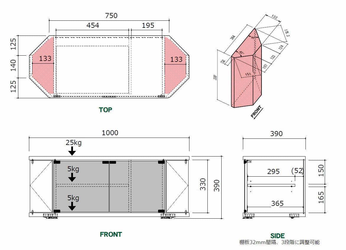 コーナーローボード RCA−1000AV−CR