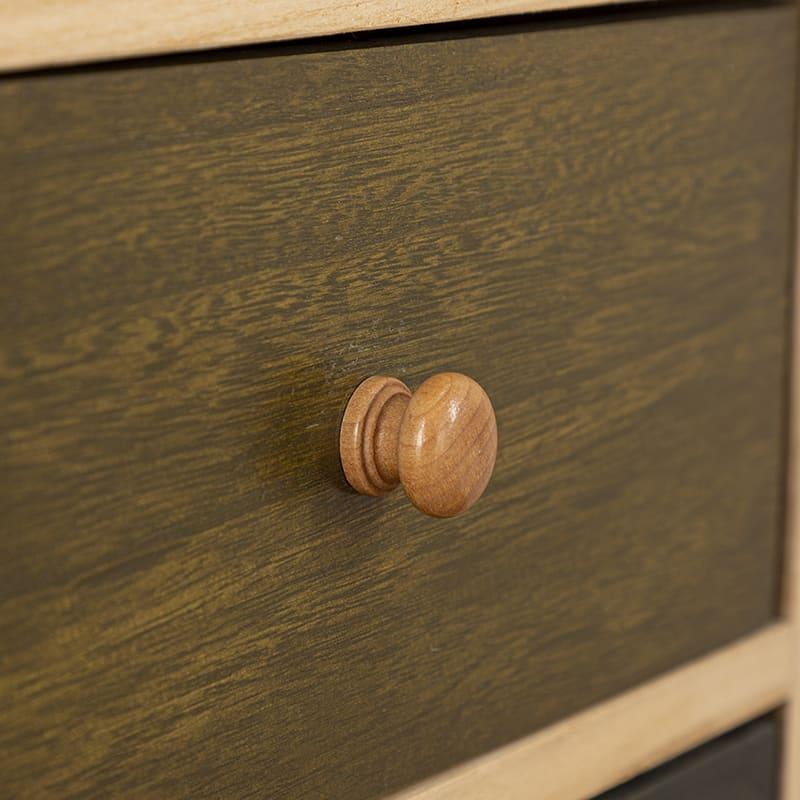 桐製マルチカラフルボックス シンクエ(4段):取っ手は可愛らしいデザイン