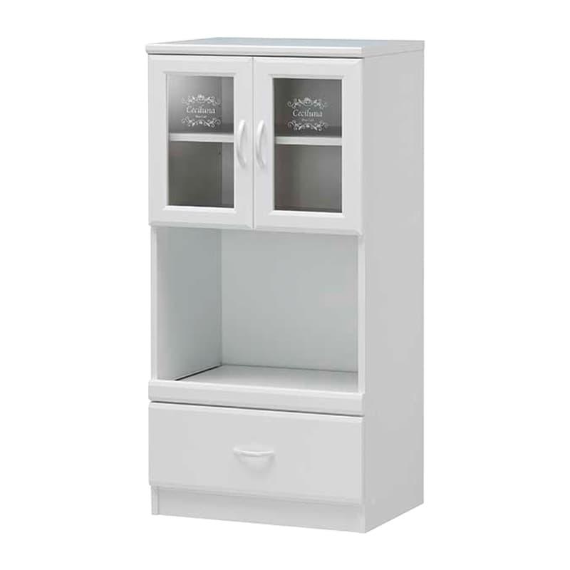 スライド付レンジ台 セシルナ CEC-1255SL:◆明るく清潔感いっぱいのホワイトキッチン収納。