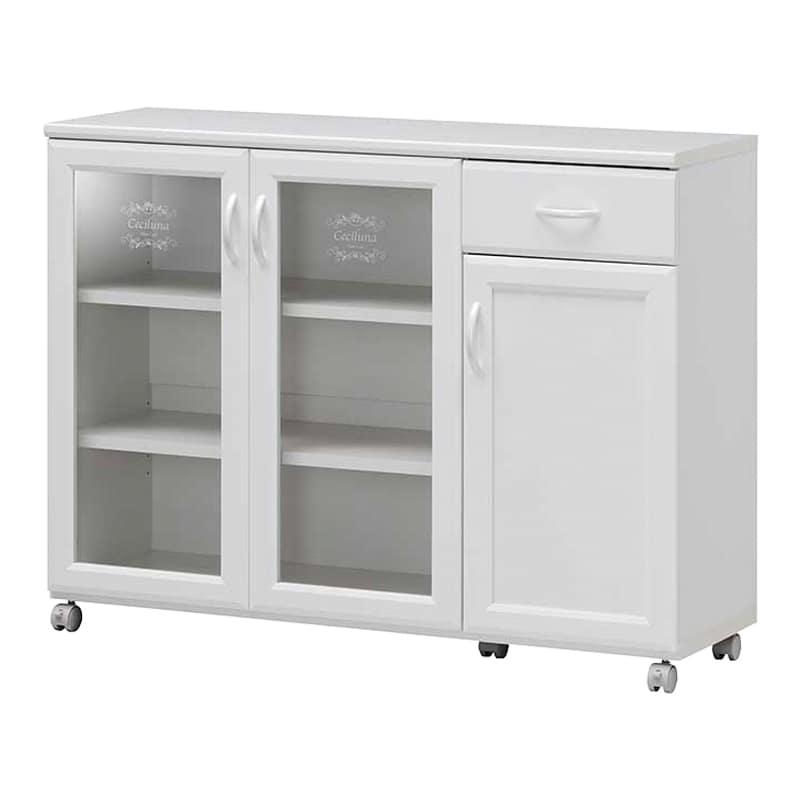 カウンターワゴン セシルナ CEC-8511CW:◆明るく清潔感いっぱいのホワイトキッチン収納。