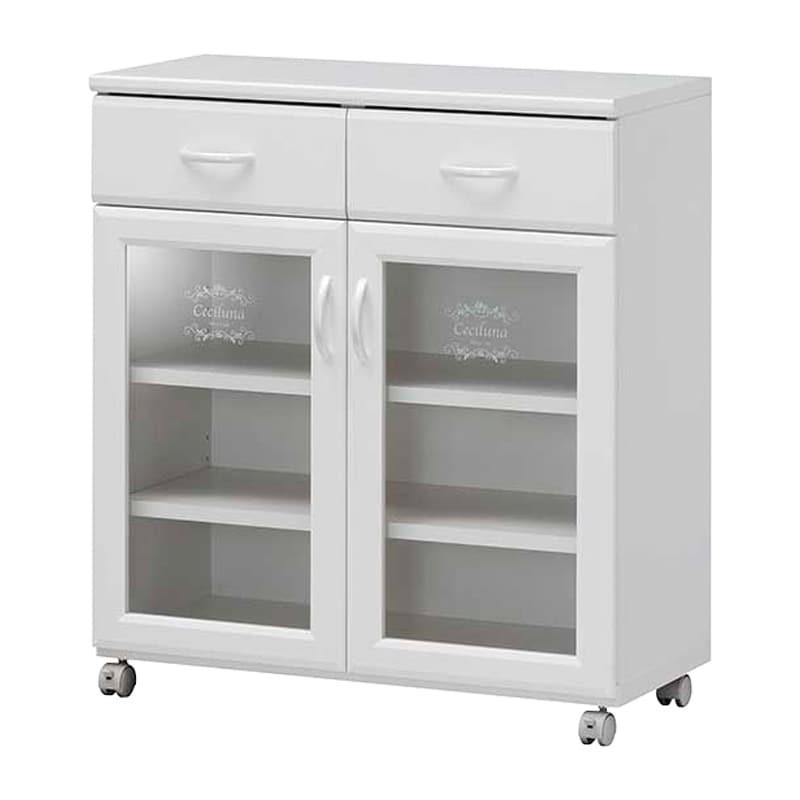 カウンターワゴン セシルナ CEC-8575CW:◆明るく清潔感いっぱいのホワイトキッチン収納。