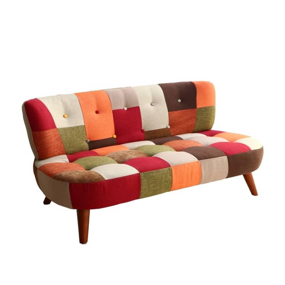 2人掛けソファー デイジー パッチワーク オレンジ:◆パッチワーク柄がおしゃれなコンパクトソファー