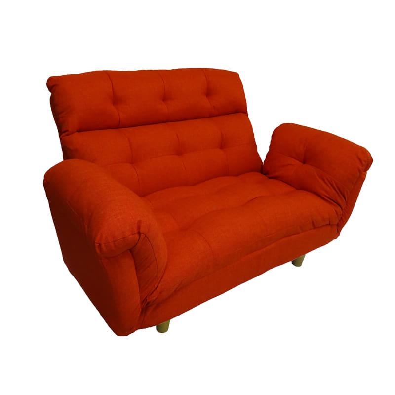ハイバックカウチソファー アルテ(オレンジ):◆へたれにくい長繊維ポリエステル綿を使用