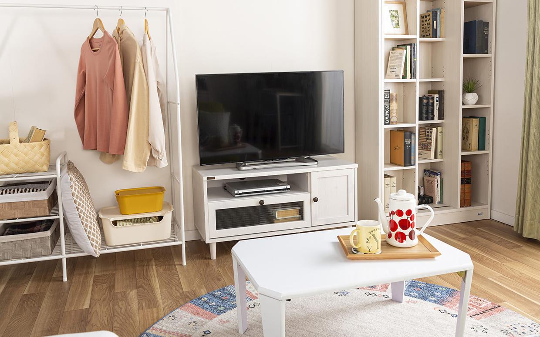 ローボード ポーリー PW46−90L BR:木目調がかわいいテレビ台