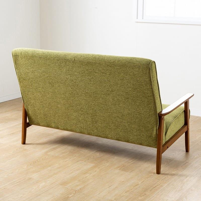 2人掛けハイバックレトロソファ フレンズ(GR):背面はすっきりとしたデザイン