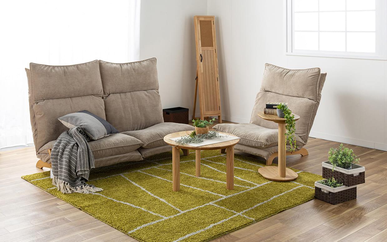 1人掛けダブルクッション座椅子ソファ スラーブ BE(ベージュ):リクライニングローソファー