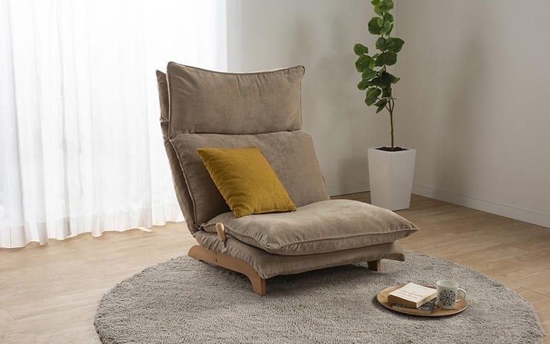 1人掛けダブルクッション座椅子ソファ スラーブ BE(ベージュ):解放感あふれるローソファー