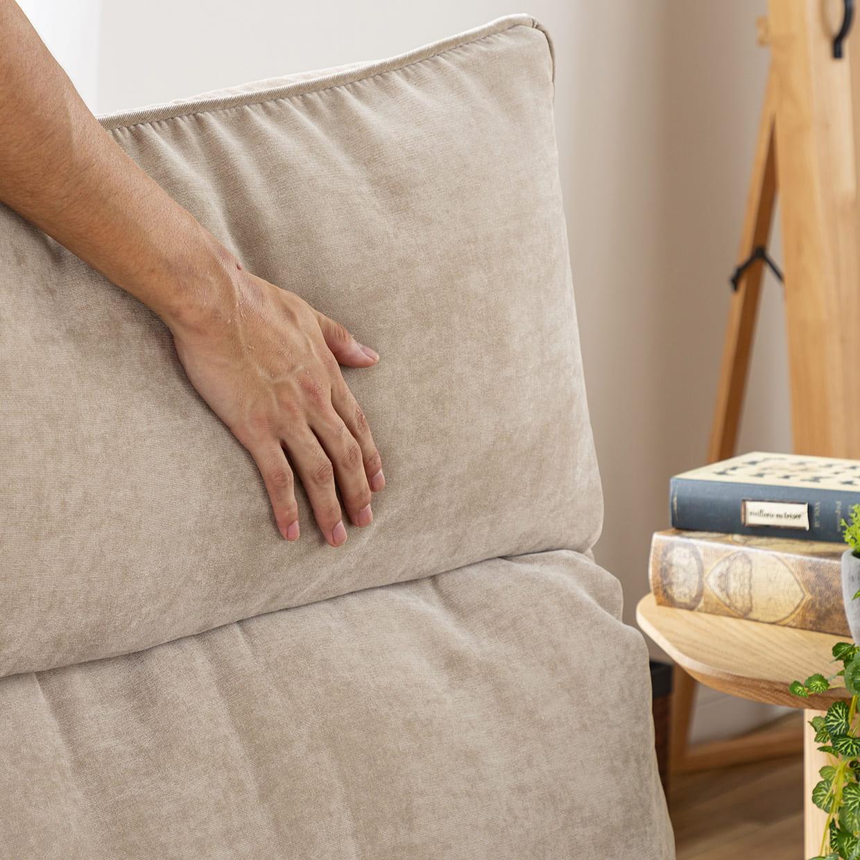 1人掛けダブルクッション座椅子ソファ スラーブ BE(ベージュ):年中快適ファブリック仕様