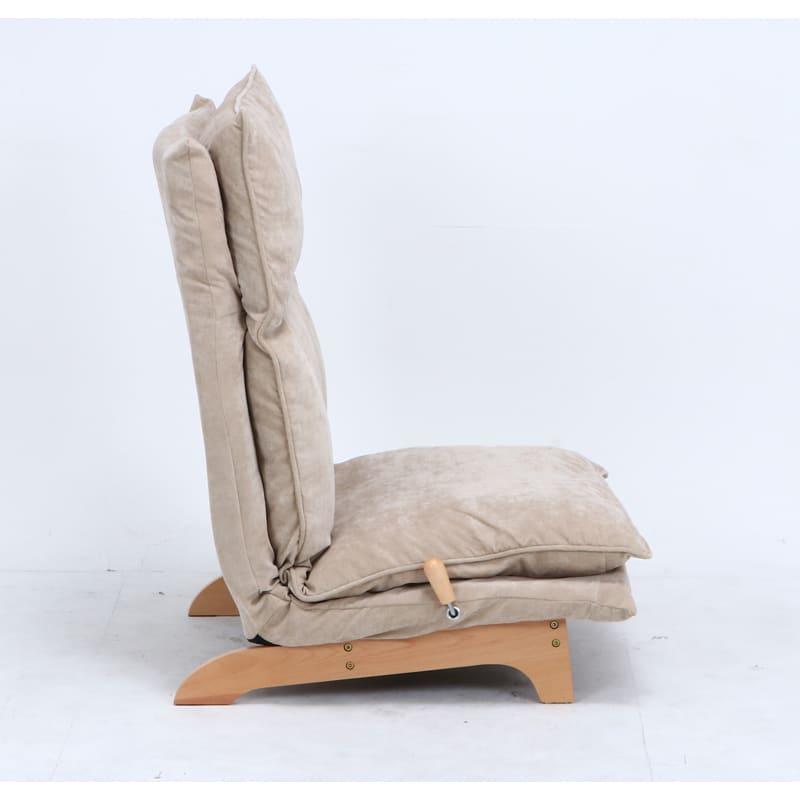 1人掛けダブルクッション座椅子ソファ スラーブ BE(ベージュ)