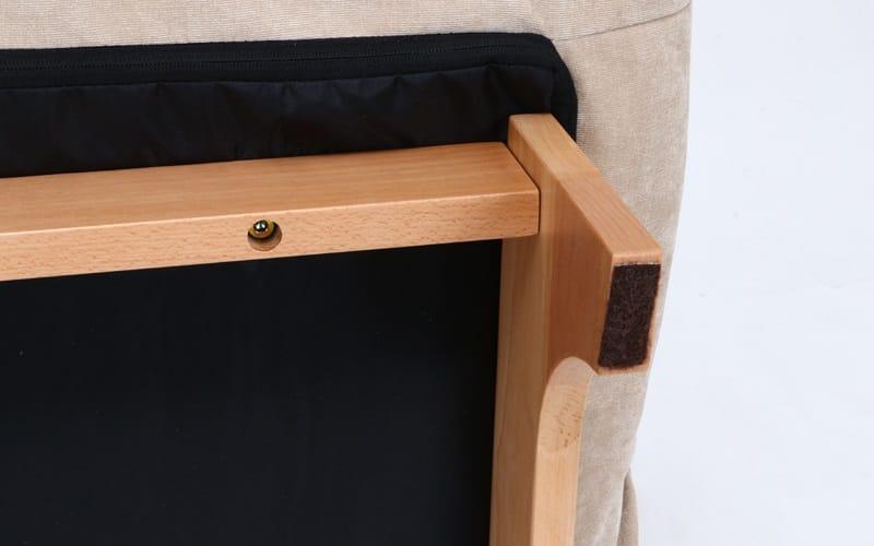 1人掛けダブルクッション座椅子ソファ スラーブ BE(ベージュ):床を守るフェルト付き