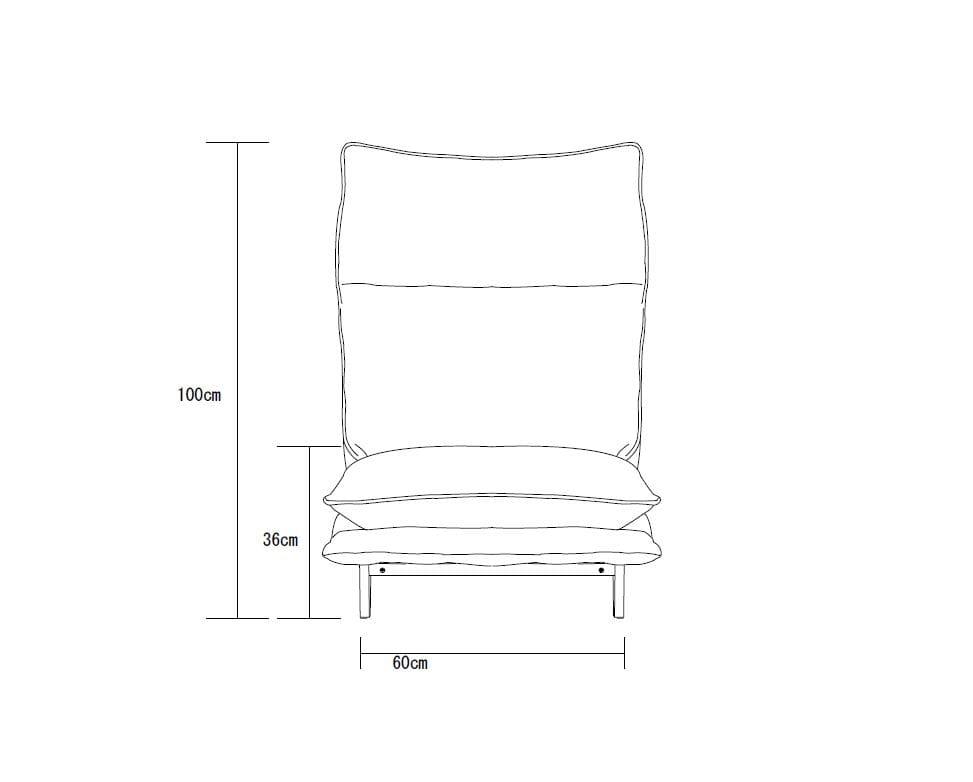 1人掛けダブルクッション座椅子ソファ スラーブ GY(グレー)
