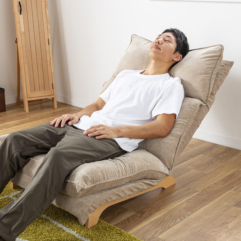 2人掛けダブルクッション座椅子ソファ スラーブ GY(グレー):好きな角度が見つかる無段階リクライニング