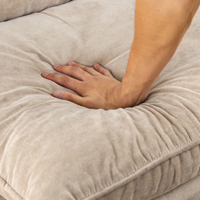 2人掛けダブルクッション座椅子ソファ スラーブ GY(グレー):クッション性