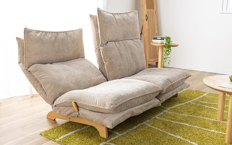 2人掛けダブルクッション座椅子ソファ スラーブ GY(グレー):左右分割仕様
