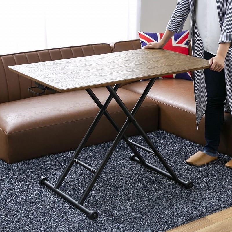 昇降テーブル バウム ナチュラル:移動がラクラク!