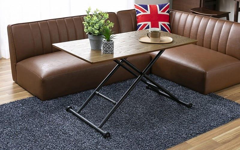 昇降テーブル バウム ブラウン:自由な高さで自由な生活を