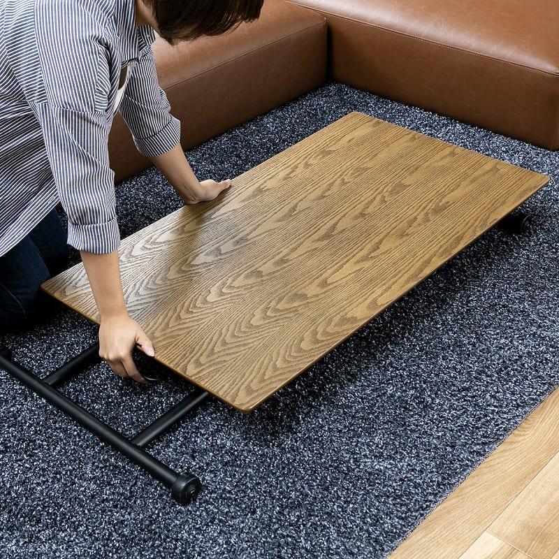 昇降テーブル バウム ブラウン:折りたたみ可能