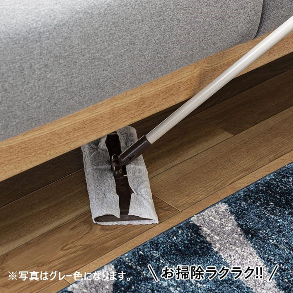 【ファブリック】2.5人掛けソファー ブランチ BL/NA(ブルー・ウッドNA):脚部スッキリデザイン
