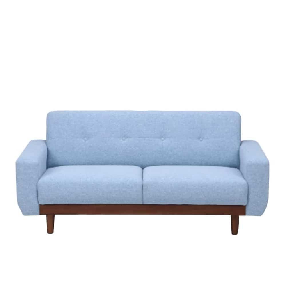 【ファブリック】2.5人掛けソファー ブランチ BL/BR(ブルー・ウッドBR):コンパクトタイプのソファー