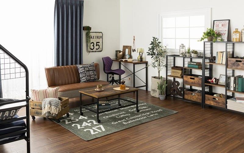 オープンシェルフ ラスティア8090 ブラウン:友人を呼びたくなるヴィンテージ風のおしゃれ家具