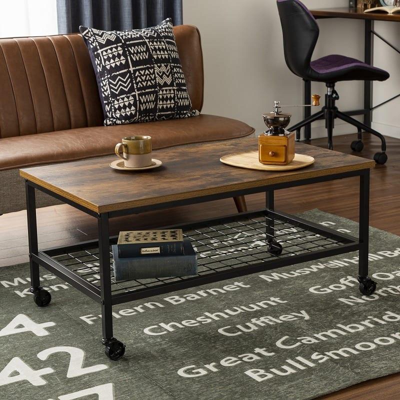 センターテーブル ラスティア8540 ブラウン:メタルと古材風の質感がおしゃれ