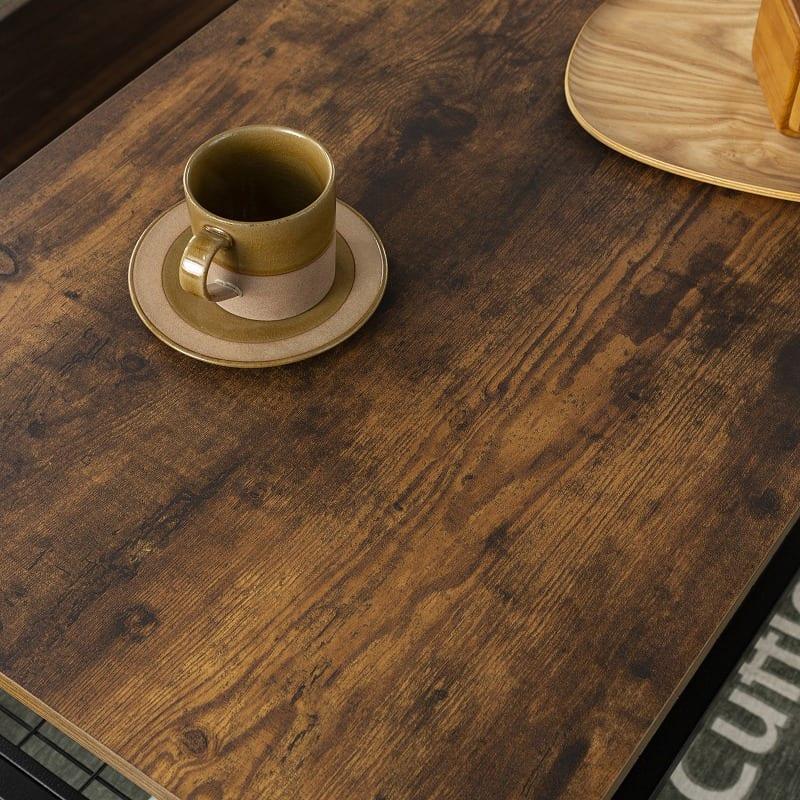 センターテーブル ラスティア8540 ブラウン:おしゃれな木目調棚板