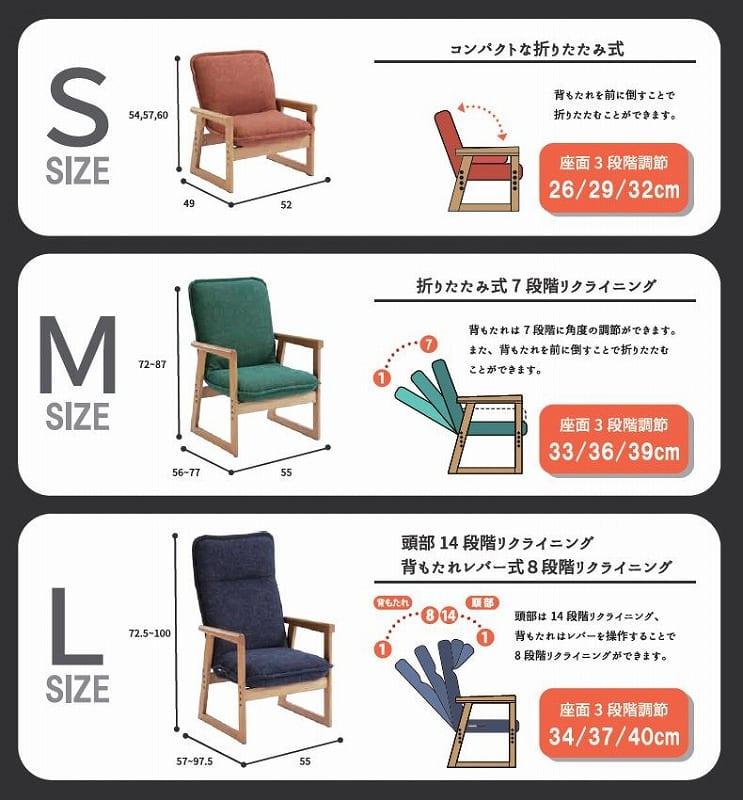 hidamariセレクトチェア Sサイズ 布:ネイビー 木肘:ブラウニー