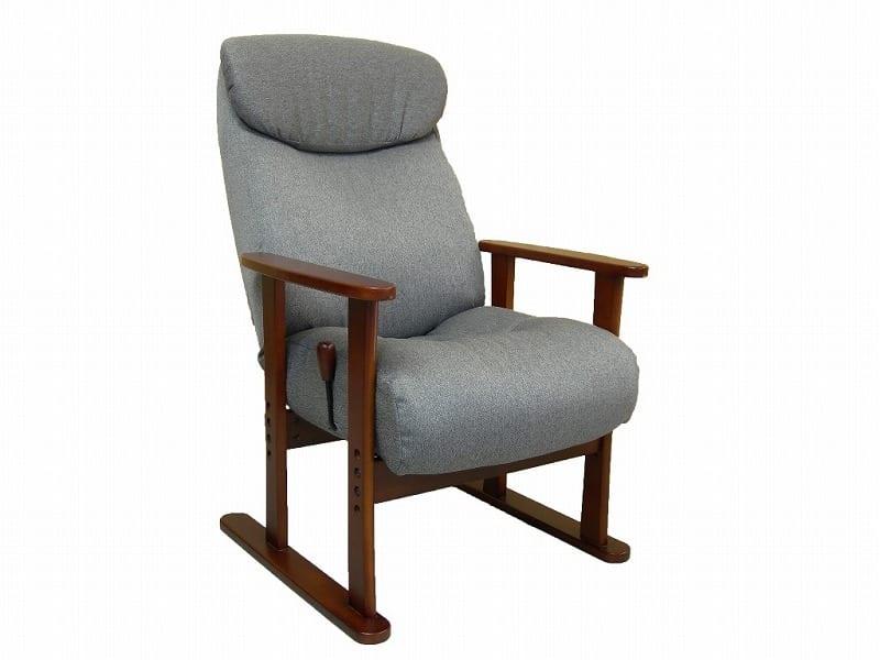ガス圧式木肘高座椅子 伊吹 GRY
