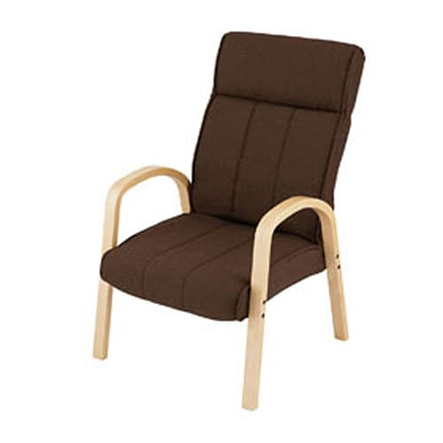 木製肘付き高脚座椅子BR MHHCN−BRブラウン