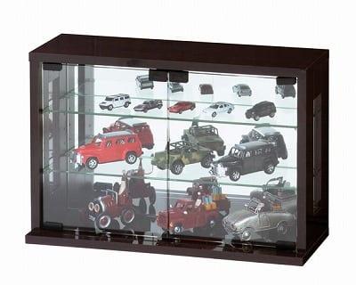 卓上コレクションケース 横型(ダークブラウン):卓上コレクションケース 横型 ※小物類はイメージです。