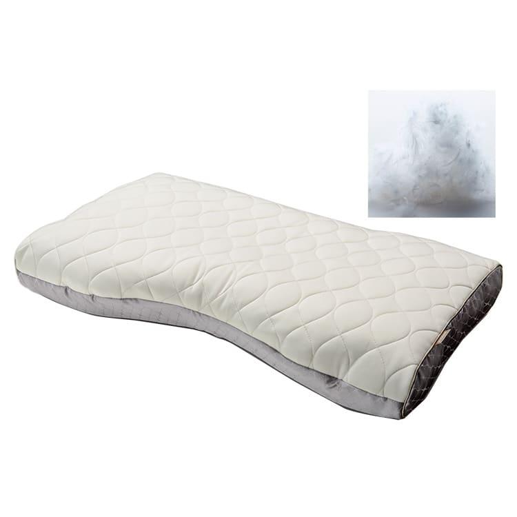 ファインクォリティプレミアム ダウン・フェザー&わた枕 L(低め):ダウン・フェザー&わた枕