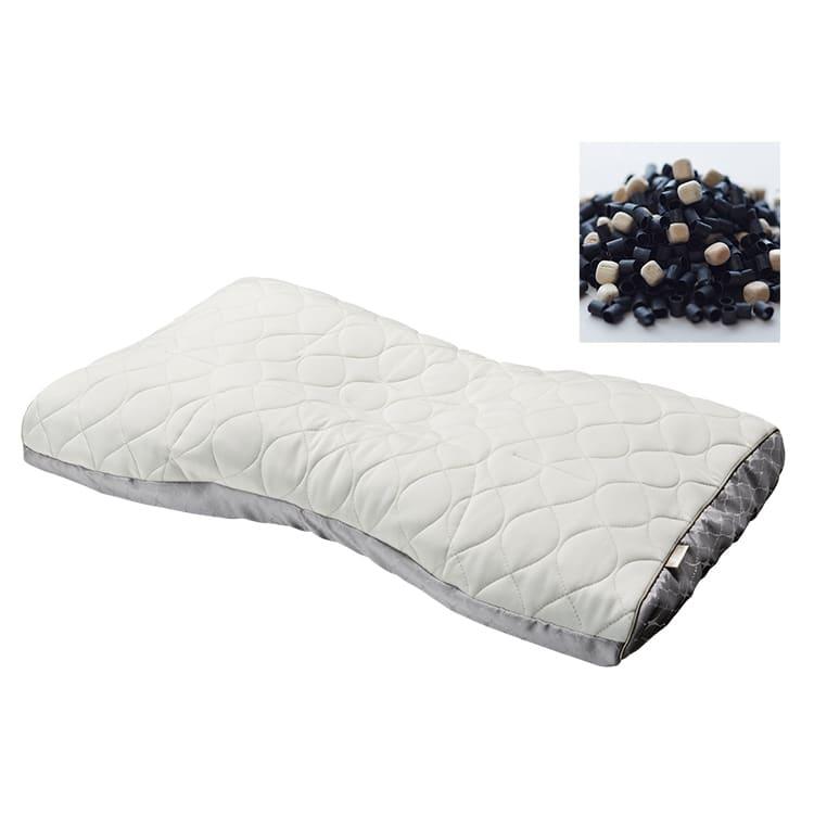 ファインクォリティプレミアム ミニ備長炭パイプ&ひのき枕 L(低め):ミニ備長炭パイプ&ひのき枕