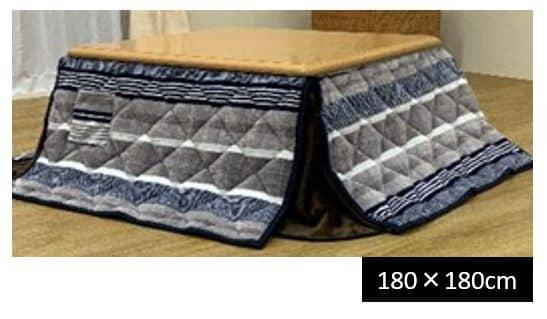 省スペースこたつ掛布団 ニードル ブルー 180×180