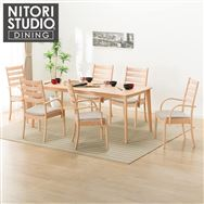 【ニトリ】 ダイニングテーブル7点セット(NコレクションT-01 180NA/C-07F肘付きNA DR-BE)