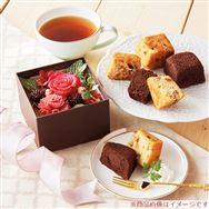【母の日フラワーギフト】プリザーブドフラワー&「ホテルオークラ」ケーキセット
