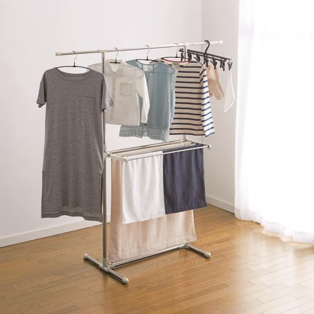 丈の長い衣類も干せる物干しH型 ND−8417:丈の長い衣類も干せるH型の物干し