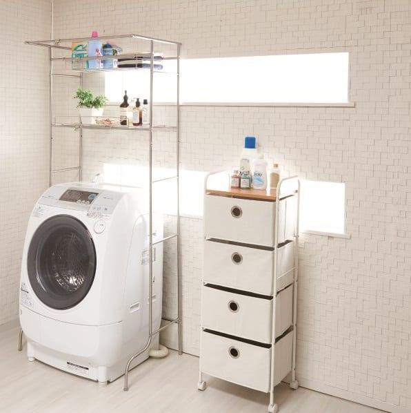 ハンガーが掛けられる洗濯機ラック ND−8420:洗濯物が掛けられるハンガー掛け付き洗濯機ラック