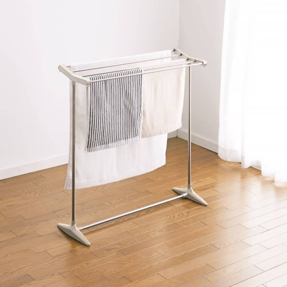 バスタオルが干せるタオル掛け ND−8422:コンパクトなステンレスタオル掛け