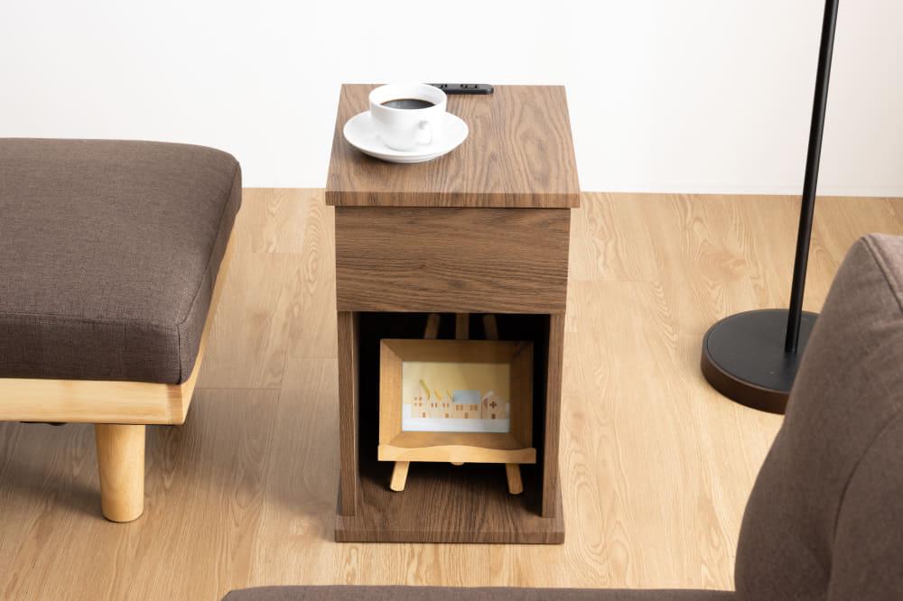 ■メーカー直送品■【ネット限定】ナイトテーブル サリオス引出付:A4サイズも収納できる便利なナイトテーブル