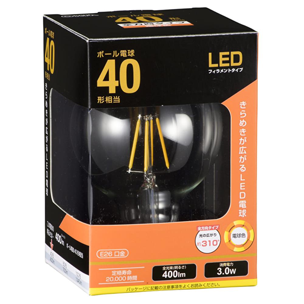 LEDボール球 【40W形】【E26】 LDG3L C6:白熱電球のような優しい光
