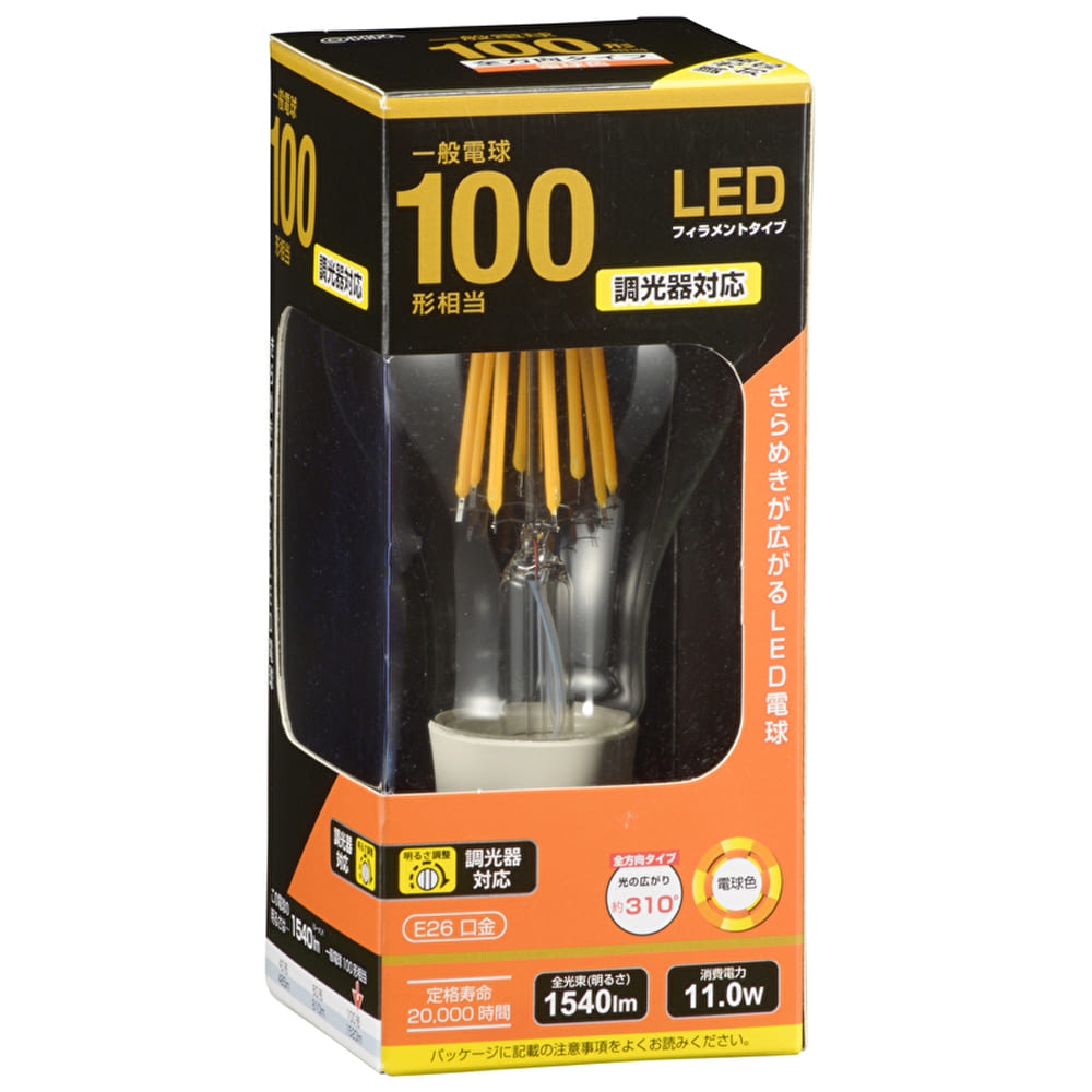 LEDクリア球 【100W形】【E26】 LDA12L/D C6:白熱電球のような優しい光