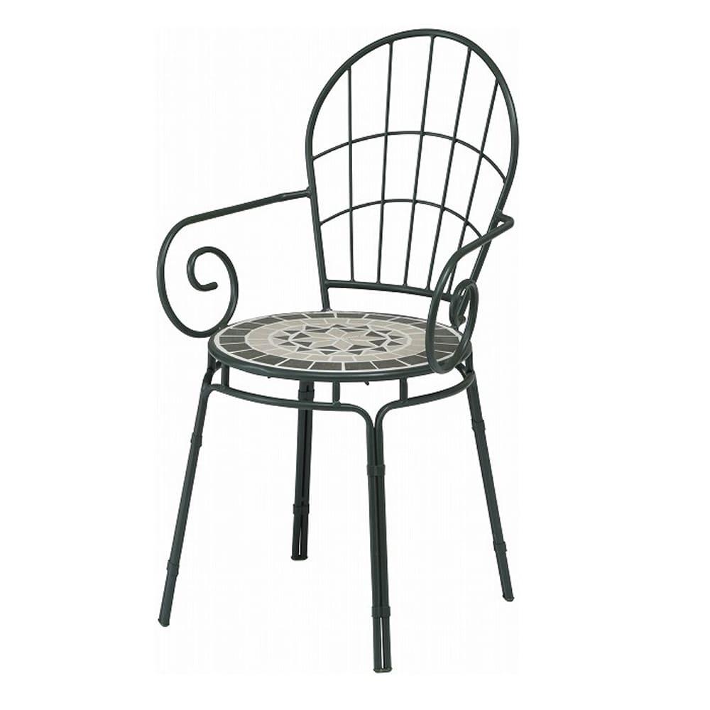 モザイクチェアー タンジール マットグリーン:艶やかなタイルが織りなす美しい模様が人気