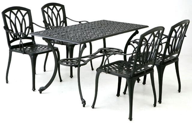 【テーブル・チェアセット】アル・カウン 5点セット:軽くて丈夫なアルミ素材 重量感がある上品なデザイン